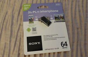 Sony Microvault 64GB Flash-Laufwerk USM-64SA2 | Android OTG Pen USB Stick