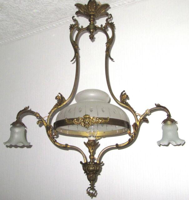 Antik Jugendstil Französische Messing-Glas Kronleuchter, Lüster (eh. Gaslampe)
