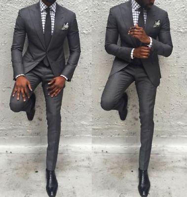 Men\u0027s Charcoal Grey Slim Fit Suit Tuxedos Groom Party Prom Wedding Suit  Custom
