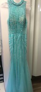 BLUE DRESS FORMAL BEADED COCKTAIL WEDDING HOMECOMING Tiffany Blue NWT SMALL