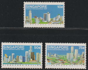 (126)SINGAPORE 1987 SINGAPORE SKYLINE SET 3V MNH. CAT RM 7