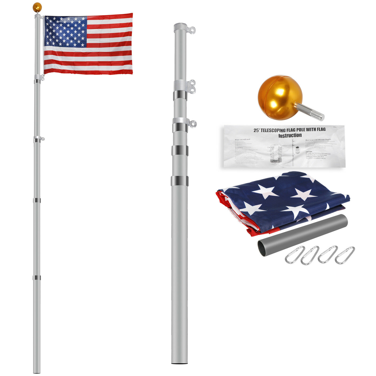16ft 20ft 25ft Aluminum Secctional flagpole Kit Outdoor Gold Ball & US Flag New Décor