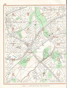 1964 VINTAGE LONDON STREET MAP NEW MALDENSURBITONTOLWORTH