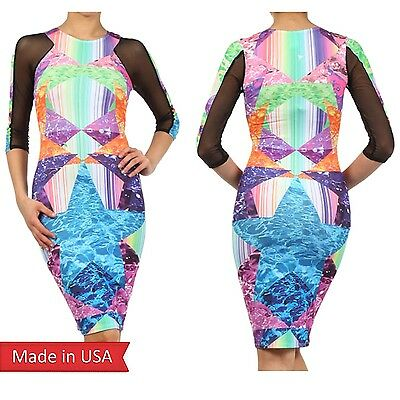 Sexy HOT Star Galaxy Print Stripe Color Block Mesh Sleeve Bodycon Midi Dress USA
