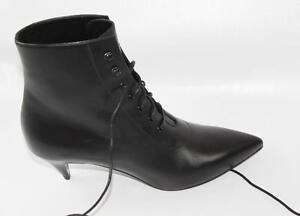 26867691c04 AUTH YSL Saint Laurent Women Black Leather Low Heel Boots 36 | eBay