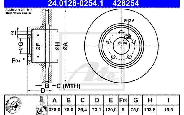 ATE Juego de 2 discos freno 328mm ventilado para BMW X3 MAZDA 6 DODGE