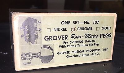 Vintage Grover 5 String Banjo Roto-Matic Tuning Pegs, Pat Pend, Chrome