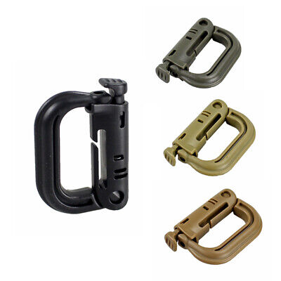 2PCs Tactical Shackle Carabiner D-ring Clip Webbing Plastic Backpack Snap Lock