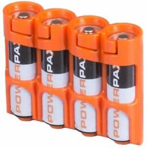 Storacell-by-Powerpax-SlimLine-AA-Battery-Caddy-Orange-Holds-4-Batteries