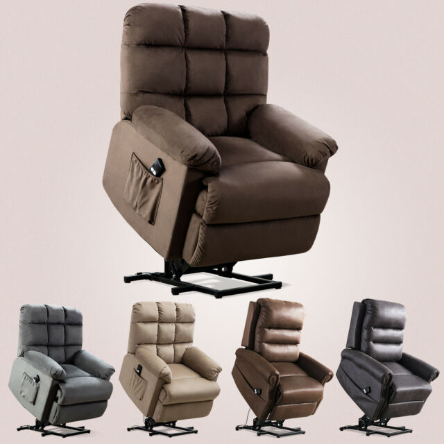 Power Lift Recliner Chair For Elderly Living Room Reclining Fabric Lounge Chair