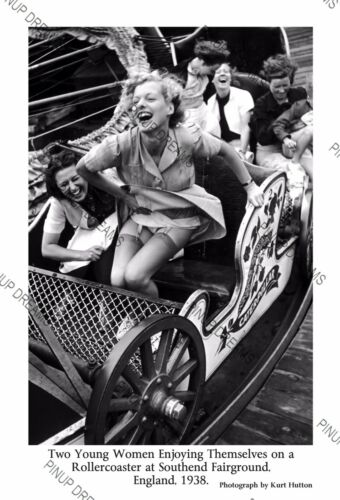 Iconic Image of 2 Ladies Enjoying Themselves on a Coaster Ride at Southend 1938