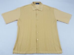 timeless design 61d08 78cb0 Details about Michael Irvin Collection Shirt Men's M yellow Button Front  Short Sleeve rayon