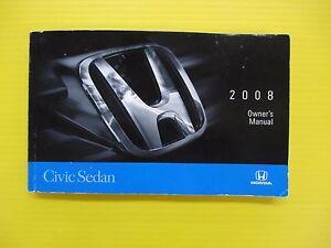 civic sedan 08 2008 honda owners owner s manual oem ebay rh ebay com 2008 honda civic sedan owner's manual 2008 honda civic lx owners manual pdf