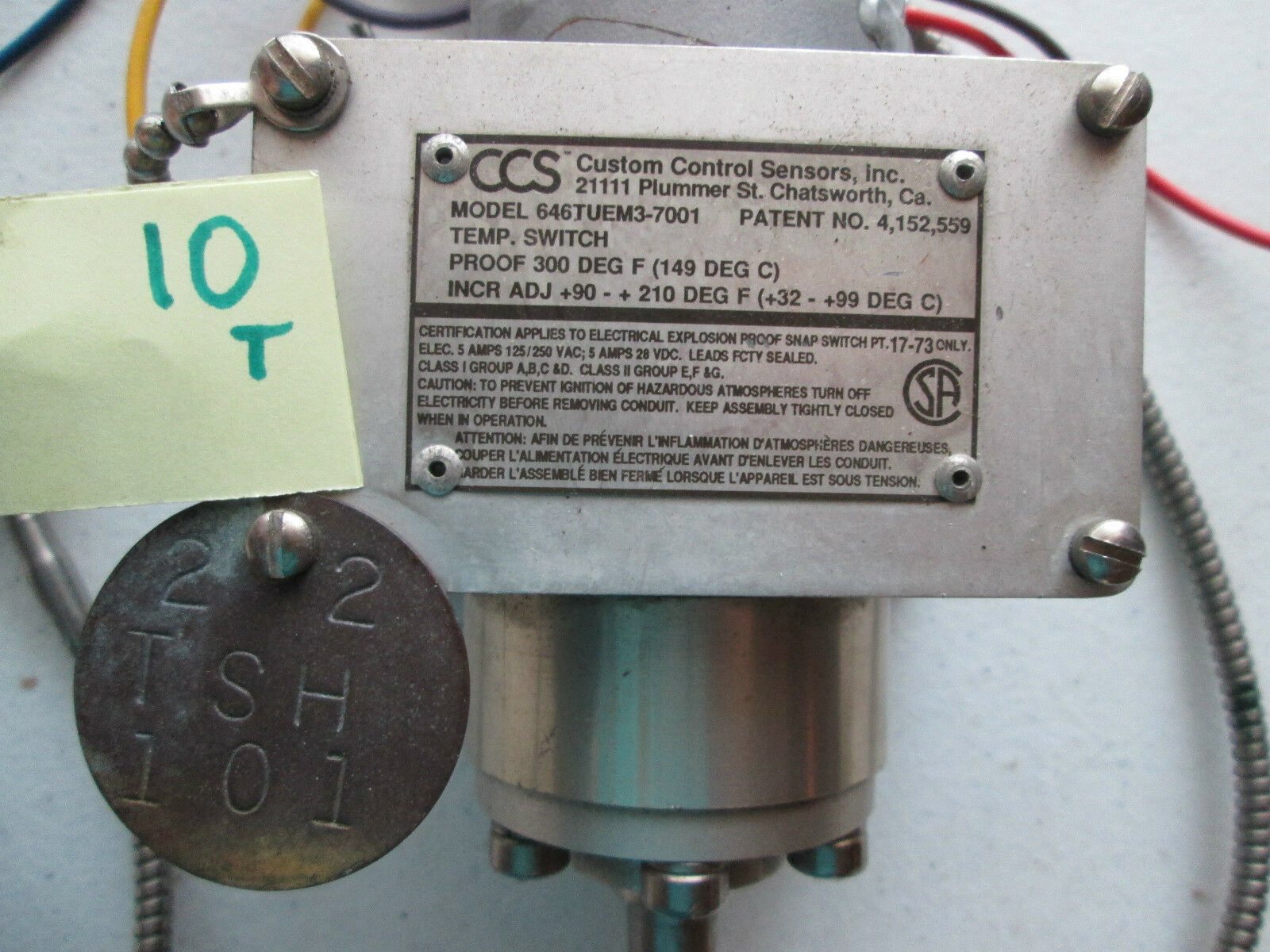 Bien utilizado Ccs controles Personalizados sensores sensores Personalizados 646tuems3-7001 Temperatura Switch (283) 460b97