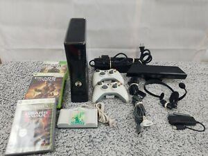 Microsoft Xbox 360 Slim 320gb Preto Com Controles Jogos E Acessórios Pacote Ebay