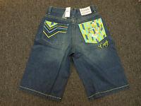 Coogi Men's Blue Denim Jean Shorts Teal Yellow Head Design $135 Retail