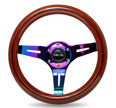 NRG Steering Wheel Dark Wood Grain 310mm 3 Spoke Neochrome Center ST-310BRB-MC