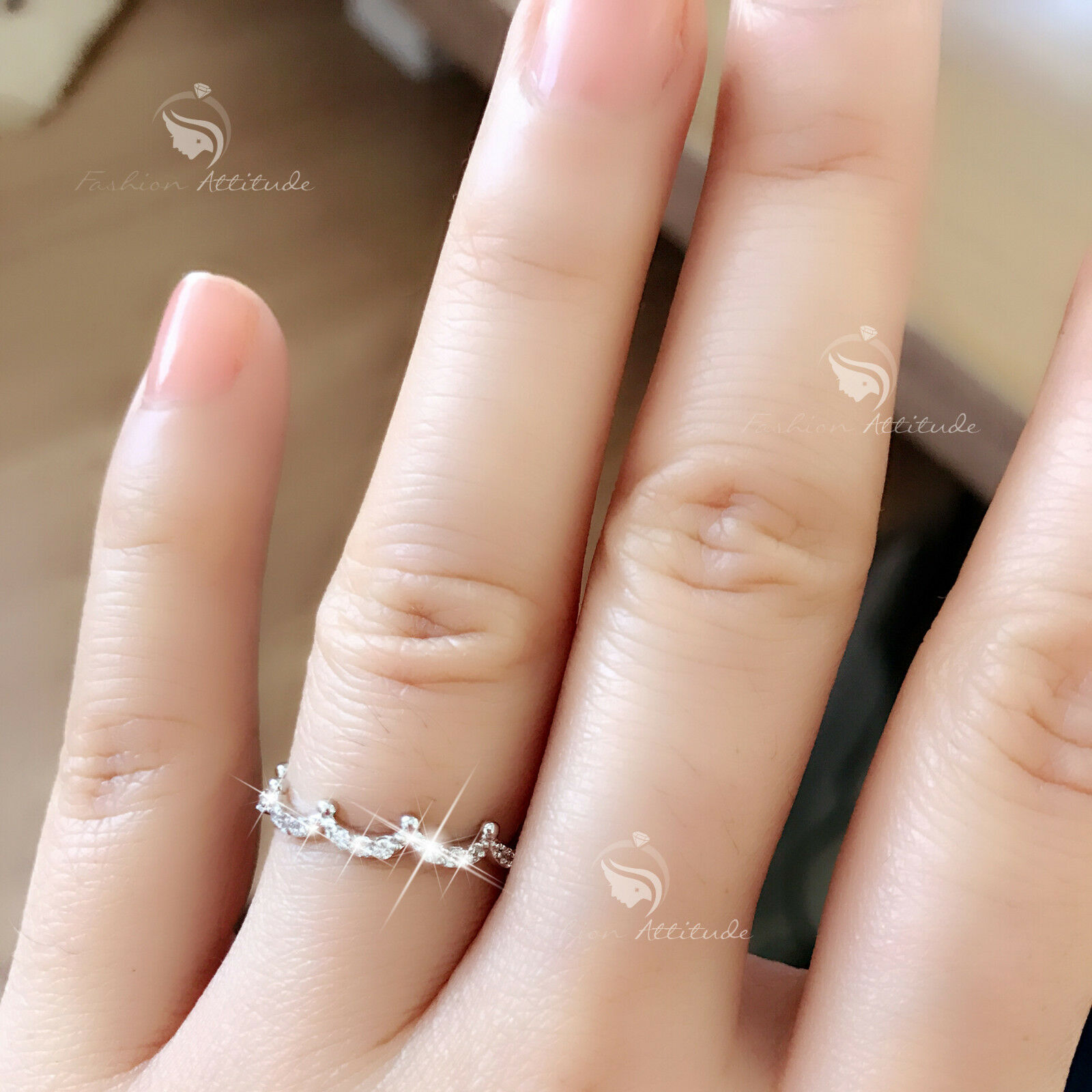 18CT Rose Gold Plated Double Band Simulated Diamond Open Ring