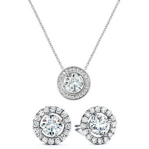 White-Gold-Plated-Made-with-Swarovski-Crystals-Necklace-and-Earring-Set-ITALY
