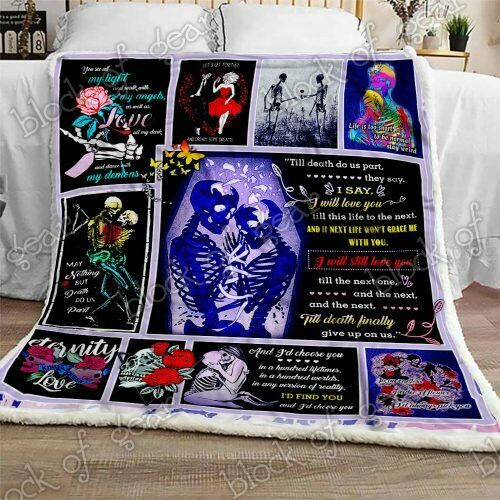 Skull Couple Sofa Fleece Blanket 50x60x80 Made In US