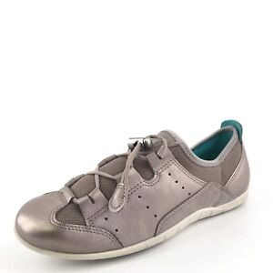 ecco silver leather lace casual athletic sneakers shoes