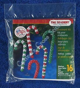 Christmas-Bead-Kit-Candy-Canes-Ornament-Makes-16-4-034-10-cm-Quick-amp-Easy