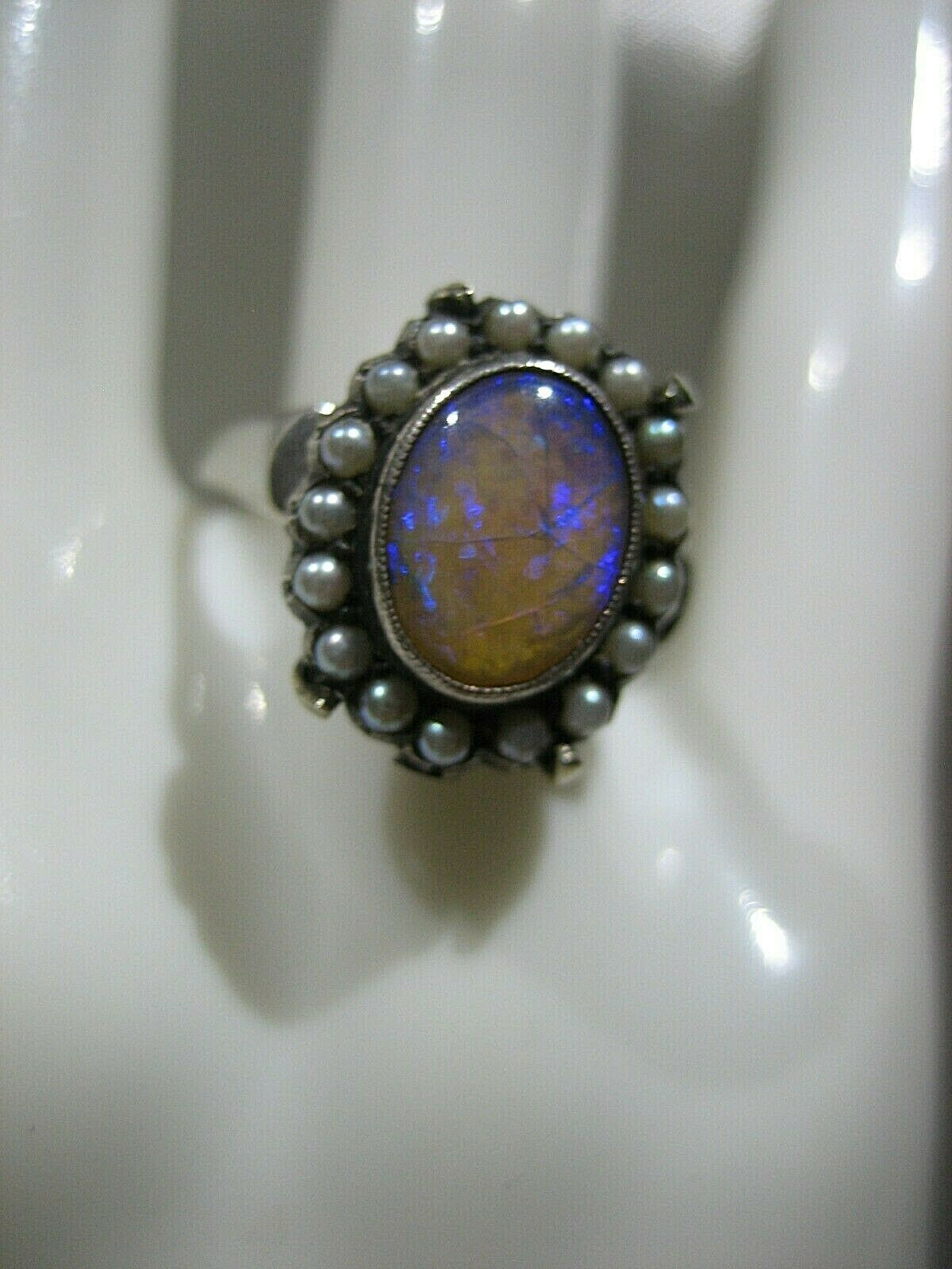 ESTATE VICTORIAN 14K WHITE GOLD OPAL AND SEED PEA… - image 4