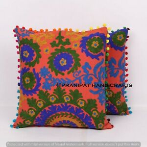 Set of 2 embroidered suzani 16 x 16 Hand Sofa Cushion Cover throw Pillow cases