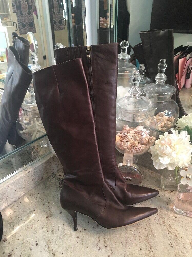 Via Spiga Chocolates Para Mujer Cuero Marrón Marrón Marrón rodilla botas altas talla 8.5 M  marca de lujo