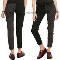 Royal Bones Tripp Checkered Checkerboard Split Black & Grey Skinny Pants Jeans 5