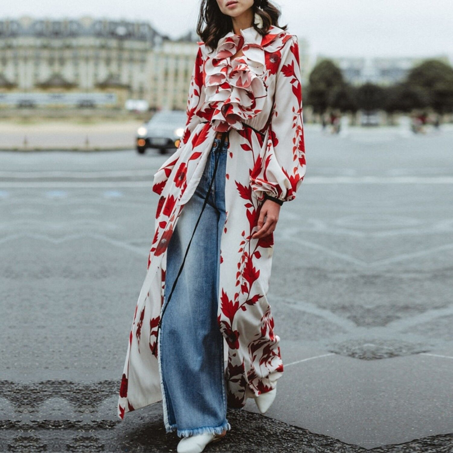 KL 2019 High Quality Woherrar Floral Print röd Long Slive Maxi Dress bildigan