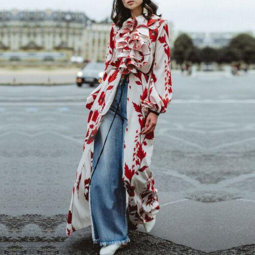 2019 Imprimé Femmes Maxi Longues Floral Robe Rouge Haute Qualité Manches rqZarp