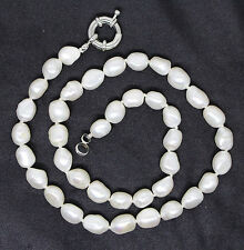 "Natural White Baroque Pearl Beadsstone Necklace 16.5"" Inches"