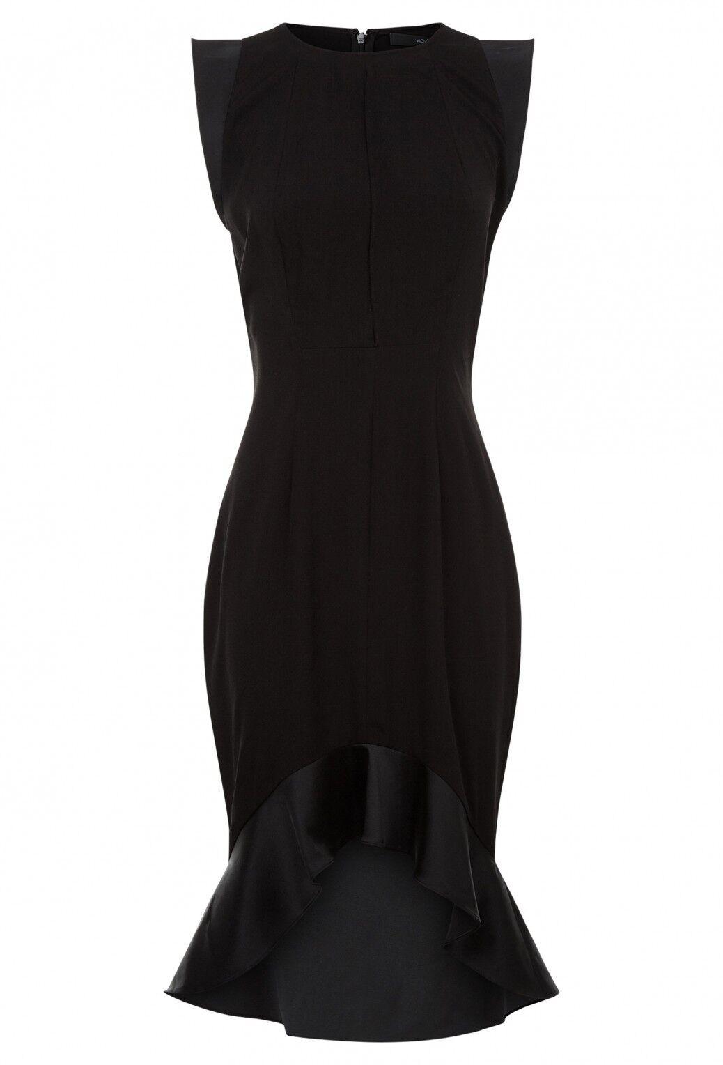 AQ AQ Pierre Frill Hem Mini Dress Größe UK 14 schwarz LF077 ii 16