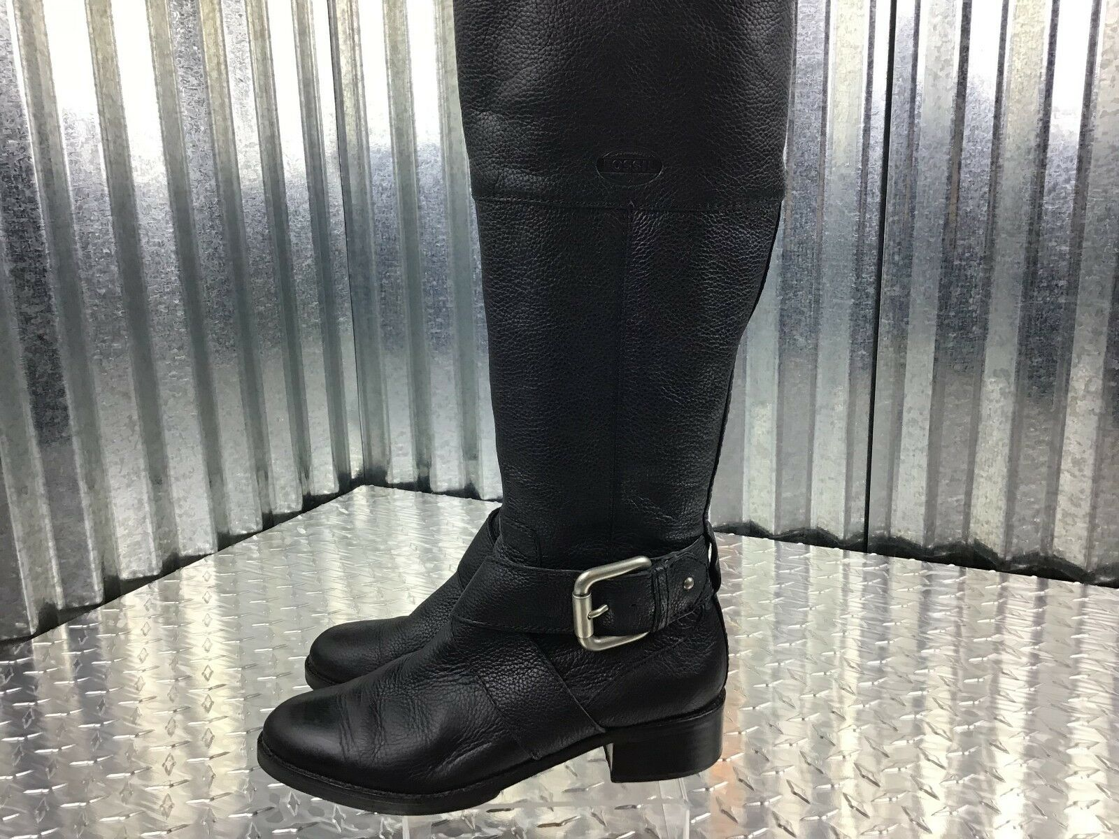 Fossil Classic Leder Knee Buckle High Riding Stiefel Sliver Buckle Knee Größe 6.5  1.5 Heel ef0017