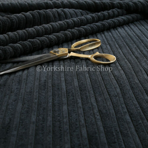 Furnishing Upholstery Fabric High Low Soft Velvet Textured Cord New Black Colour