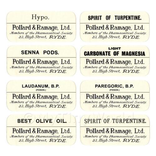 Casa De Muñecas etiquetas de farmacia-jarra a granel Set Sbb4