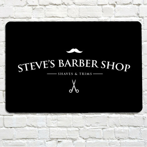 Personnalisé Barber Shop Moustache Étiquette Salon Métal A4 SIGNE