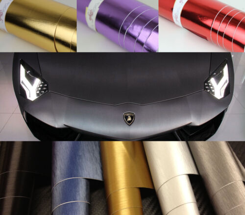 3.9in 35.4in Chrome Brushed VINYL WRAP SHEET 0.1m to 0.9m 59.8in x 1.52m
