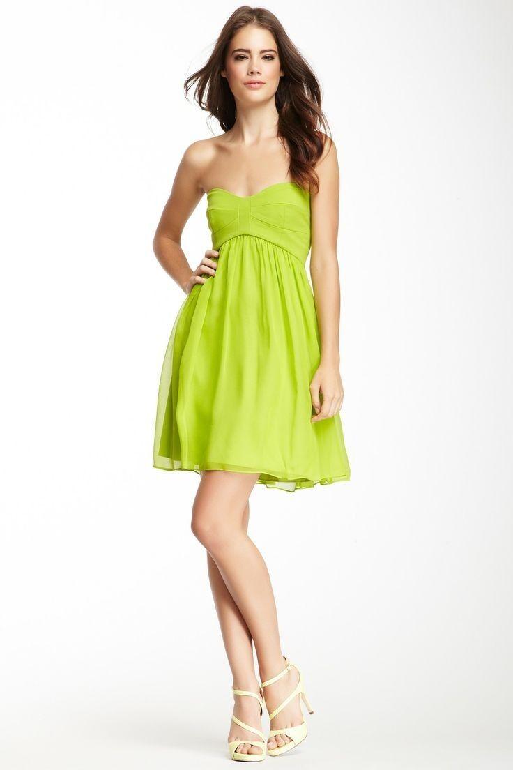 NWT- DVF Asti Short Strapless Silk Silk Silk Dress, Bright Kiwi Green - Size 0 ef039f