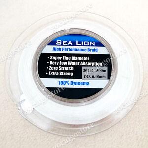 NEW-Sea-Lion-100-Dyneema-Spectra-Braid-Fishing-Line-500M-20lb-White