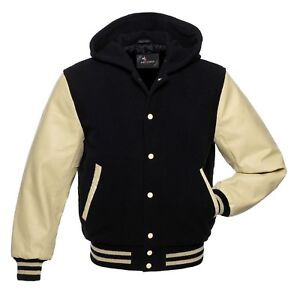 NavyBlue Wool White Real Leather Letterman College Varsity Bomber Jacket 2XS~4XL