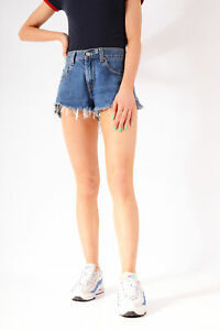 Vintage-Levi-039-s-Cut-Off-Denim-Shorts-Mid-Blue-w30