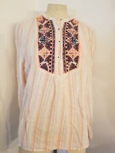 Holding-Horses-Anthropologie-Button-Front-Embroidered-Top-Sz-L-Striped-Womens