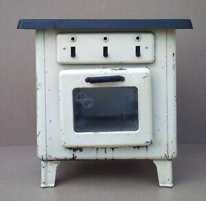 Ancien Jouet Four Tôle Gazinière Dînette Marche Vintage Old Toy Oven Gas Cooker