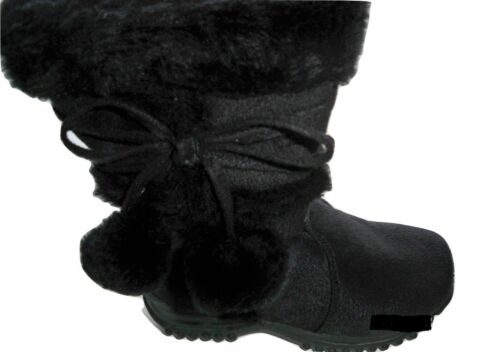 Team Honey-10 Girl Faux Wedge Mid Calf Black Leather Winter Boots Toddler Size 4