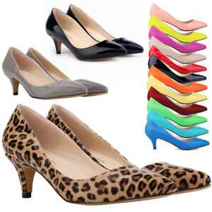 c7669a9cf762 WOMENS LADIES LOW MID HIGH HEEL POINTED TOE PUMPS SMART WORK COURT ...