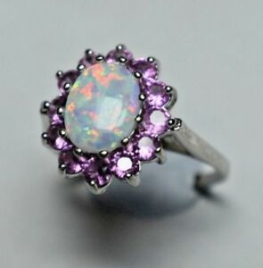 Large-Opal-amp-Pink-Tourmaline-Halo-Ballerina-Cluster-Cocktail-Ring-Sizable-7-5