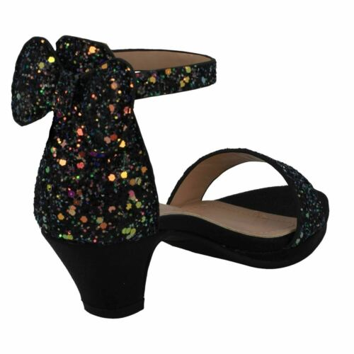 Girls H1R109 Mid Heel Glitter Party Sandals By Spot On Retail Price £16.99