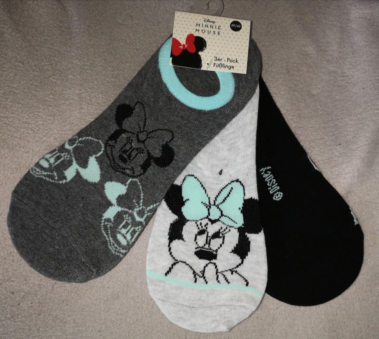 3 Paar Disney MINNIE MAUS Damen Füßlinge Sneaker Socken Größe 39 - 42 NEU & OVP